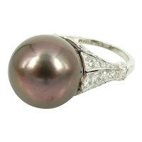 South sea pearl diamond platinum ring