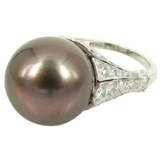 South sea pearl diamond platinum ring