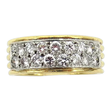 David Webb diamond platinum gold band ring