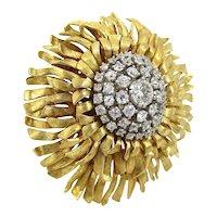 Vintage 18kt. gold diamond starburst pin