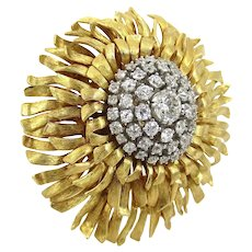Vintage 18kt. gold diamond starburst pin