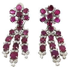 Platinum diamond ruby day night cluster and or chandelier earrings