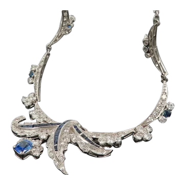 Vintage Diamond and Sapphire White Gold Necklace