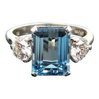 Platinum Diamond Aquamarine Ring Beautiful color