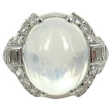 Vintage Platinum Diamond Moonstone Deco Ring