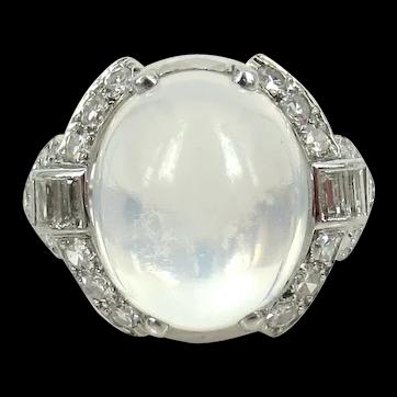 Vintage Platinum Diamond Moonstone Deco Ring