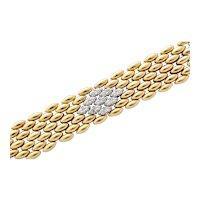 18kt, Gold and Diamond Smooth as silk Basketweave bracelet