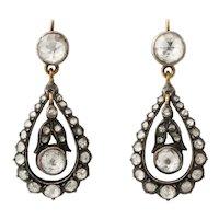 Antique Georgian  Rose Diamond Earrings