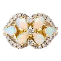 Opal Diamond Corset Shaped Ring
