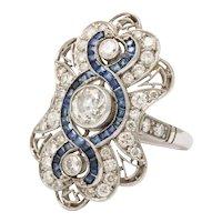 Platinum Diamond Sapphire Art Deco Sexy Ring