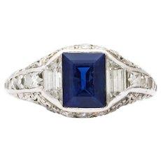 Sapphire Diamond Deco Ring No Heat Certified