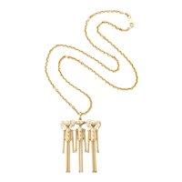 Vintage gold diamond peg doll necklace