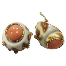 Trianon 14kt. gold coral earrings