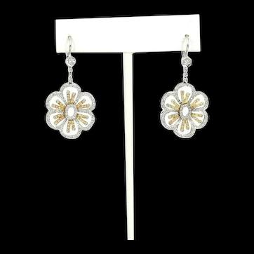 Vintage Flower 18kt. Gold Two Tone Diamond Hanging Earrings