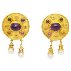 14kt. gold MAZ earrings with colored stones