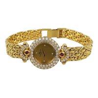 New Old Stock Ladies 18kt Gold Diamond  Ruby Baume Mercier Wristwatch