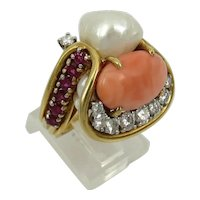 18kt Gold Diamond Ruby Coral Art Piece Ring