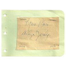 Allyn Joslyn and Lynn Bari Autographs