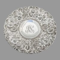 Repousse Floral Footed Plate Jenkins Jenkins Sterling 1915 Mono