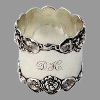 Shreve Pond Lily Napkin Ring Sterling Silver Mono