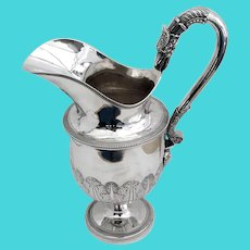 Empire Water Pitcher Anthony Rasch Philadelphia Sterling Silver 1810 Figural