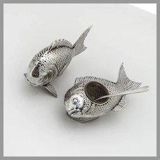 Japanese Fish Form Salt Dish Pepper Shaker Set 950 Sterling Silver