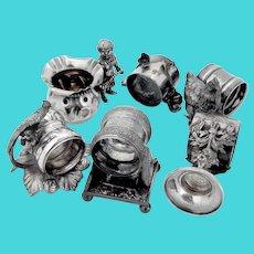 Ornate Figural 5 Napkin Rings Bud Vase Set Silverplate