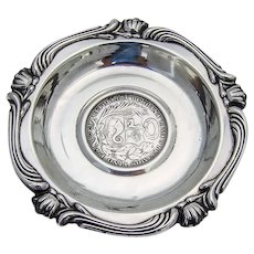 Baroque Style Small Dish Peruvian Coin Inset Camusso Sterling 1960