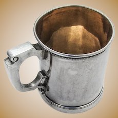 Gorham Beaded Childs Cup Mug Gilt Interior Coin Silver 1860