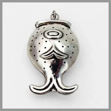 Los Castillo Stylized Fish Form Tea Ball Sterling Silver Mexico