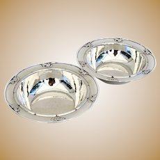 Georg Jensen Blossom Serving Bowls Pair Sterling Silver Old Mark