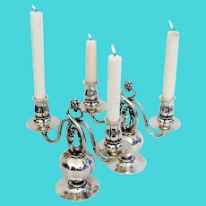 Georg Jensen Pomegranate Candelabra Pair Sterling Silver Old Mark