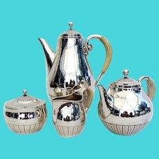 Georg Jensen Cosmos 4 Piece Tea Coffee Set Sterling Silver 1930 Denmark