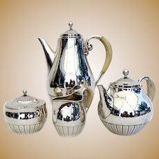 Georg Jensen Cosmos 4 Piece Tea Coffee Set Sterling Silver 1930 Denmark