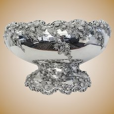 Pinecone Punch Bowl Redlich Co Sterling Silver 1900 NYC