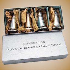 Glasslined Salt Pepper Shakers 2 Pairs Crown Sterling Silver 1960