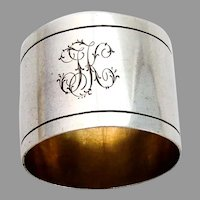 German Large Napkin Ring Gilt Interior 800 Silver 1900 Mono