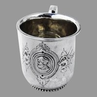 Medallion Childs Cup Gilt Interior Wood Hughes Coin Silver