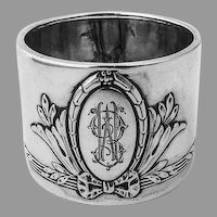 German Bow Wreath Napkin Ring Jakob Grimminger 800 Silver Mono