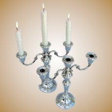 Gorham Strasbourg 3 Light Candelabra Pair Sterling Silver