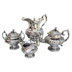 Floral Repousse 4 Piece Tea Set James Thomson Coin Silver 1835 Mono