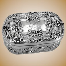 Art Nouveau Oval Jewelry Box Gorham Sterling Silver Mono