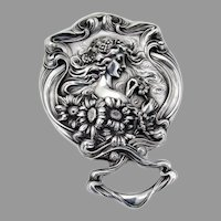 High Relief He Loves Me Hand Mirror Unger Bros Sterling Silver 1904
