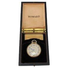 Howard Open Face Pocket Watch 17 Jewels Gold Filled Case Mono
