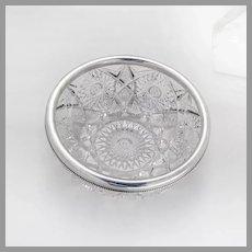 Cut Glass Bowl Gorham Sterling Silver Rim 1904 Date Mark
