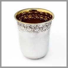 Hazorfim Floral Kiddush Wine Cup Gilt Interior 835 Silver 1960