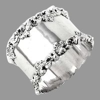 Towle Napkin Ring Applied Scroll Border Sterling Silver