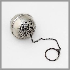 Ornate Repousse Tea Ball Sterling Silver