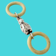 Figural Rabbit Baby Rattle Double Teething Ring Silverplate