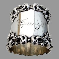 Ornate Foliate Scroll Napkin Ring Sterling Silver 1900